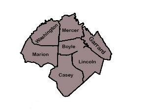 Hurst and Hurst Legal Services Area Map - Boyle Lincoln, Garrard, Casey, Marion, Washington and Mercer Counties in Kentucky