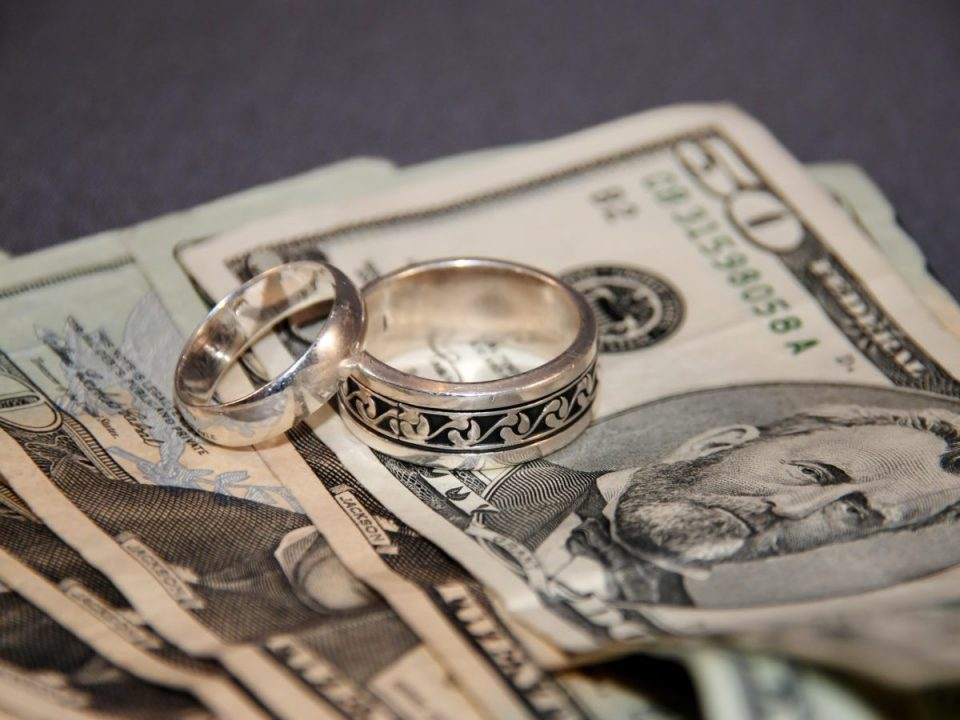Money and wedding ring to represent alimony in KY